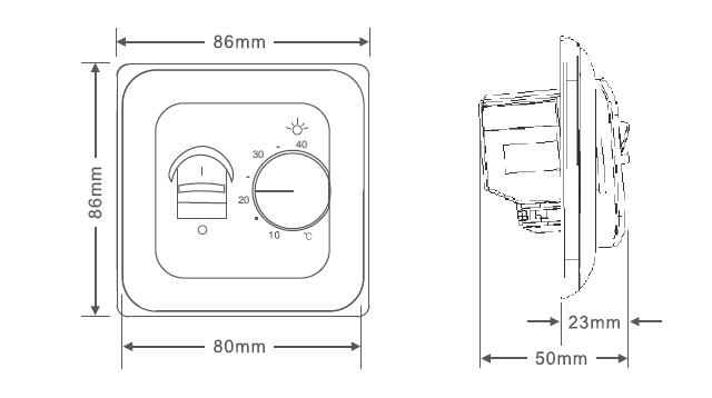 Терморегулятор RTC 70.26 размеры